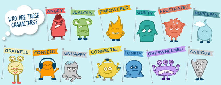 GUOK characters developed by students that represent emotions that Hoyas may experience on a weekly basis