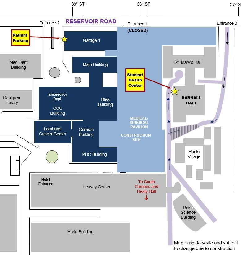 Map showing location of the Student Health Center on Georgetown University Campus